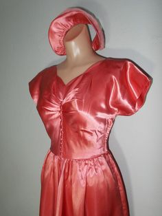 Vintage 1930s 1940s Pink Satin Long Formal Dress W/ by HoiPolloipj, $115.00 Women's vintage cocktail party fashion