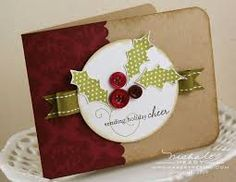 Buttons for berries will save me from punching a bazillion of them out. Handmade Christmas, Christmas Holidays, Christmas Cards, Christmas Decorations, Diy And Crafts, Paper Crafts, Quick Cards, Scrapbook Cards, Scrapbooking