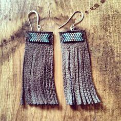 Chocolate leather fringe, blue ombré beaded top earrings. #bohoglam #springpaperjewelry