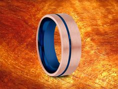 Rose Gold Tungsten Ring With Blue Plated Inside by Silvershowroom