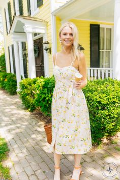 There's no denying, yellow is the color of the season. This floral dress is a fun way to dip your toes into the trend.