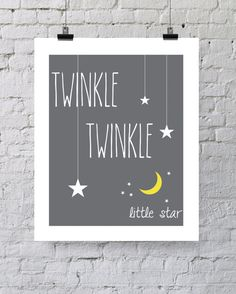 "Twinkle Twinkle Little Star Nursery 8x10"" Print - Moon and Stars Baby Modern Gray, White and Yellow"