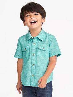 7da0f29e6c2 Double-Pocket Linen-Blend Shirt for Toddler Boys Boys Shirts
