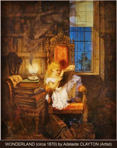 "WONDERLAND (circa 1870) by Adelaide CLAYTON, artist. ""She's reading Grimm's Goblins, with Arabian Nights and Lancashire Witches in her stack."" ... Night in the family library. Reading by candlelight. Black cat. Candle-smoke ghost. Goblin in front of book stack on chair. Great Halloween image. Spooky!"