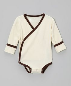 Look what I found on #zulily! Natural & Chocolate Organic Wrap Bodysuit - Infant by Kee-Ka #zulilyfinds