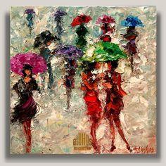 Girl Talk ... ANDRE DLUHOS City Women Sidewalk Rain Umbrellas People ORIGINAL ART Oil Painting #Impressionism