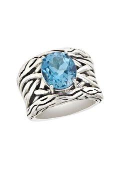 $250 : Effy Jewlery Balissima Lagoon Blue Topaz Ring, 5.7 TCW Ring size 7