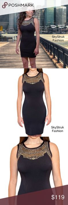 Black Dress w Gold Studs The perfect feel great look good dress! Fabric softly molds to your body for an elegant look and feel. Very comfortable, not thin material. Will not show every body bulge. 100% polyester  in stock sizes 36 which is equiv to a 4-6 small and a 38 equiv to 8-10 medium Boutique Dresses