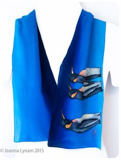 """Hand painted silk scarf. Penguin Silk Scarf. Emperor Penguins. 8""""x52"""" Handmade silk scarf. Handpainted silk scarves. Silk scarf hand painted by SirenSilks on Etsy"""