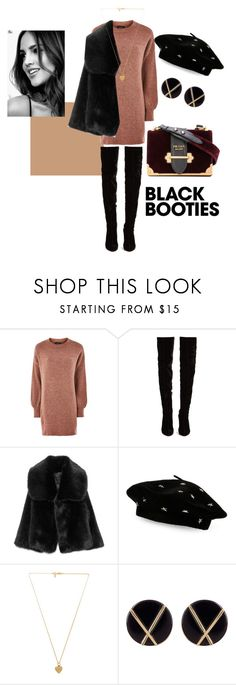 """black booties outfit"" by khouloudk ❤ liked on Polyvore featuring Topshop, Christian Louboutin, Steve Madden, Vanessa Mooney, Botkier, men's fashion and menswear"
