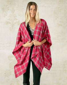 """BO & EROS """"Pink Sky In The Morning"""" Plaid Shawl Wrap - Inspired by the Bohemian Lifestyle and fashion, this is your go-to piece when you want that warm, comfortable, versatile, effortless yet stylish look.  #bohostyle #bohofashion #bohochic #fallfashion #plaid #flannel #bohemian #freespirit"""