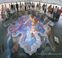 sidewalk chalk art - the rising