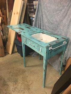 We had an old sewing cabinet that had the sewing machine removed from the cabinet. We have seen coolers made from these before and decided to try it out. Diy Cooler, Coolest Cooler, Table Cooler, Beer Cooler, Diy Coffee Table, Diy Table, Furniture Makeover, Diy Furniture, Furniture Refinishing