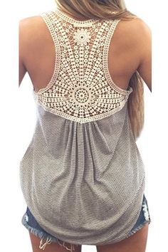 Lace Splicing Striped Letter Embroidery Stylish Scoop Neck Tank Top For Women
