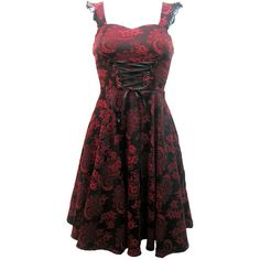H London Long Red Brocade Dress | Gothic Clothing | Emo clothing |... ❤ liked on Polyvore