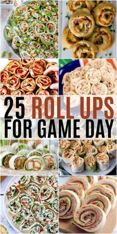 Finger foods and football games go hand in hand. These 25 Roll Ups for Game Day . Finger foods and football games go hand in hand. These 25 Roll Ups for Game Day are sure to inspire your football party menu and make your crowd go wild! Football Party Foods, Party Finger Foods, Snacks Für Party, Finger Food Appetizers, Football Food, Yummy Appetizers, Appetizers For Party, Appetizer Recipes, Tortilla Roll Ups Appetizers