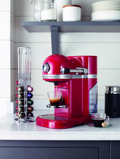 Get ready in the mornings with this gorgeous red Kitchen Aid coffee machine. #coffee #red #bright