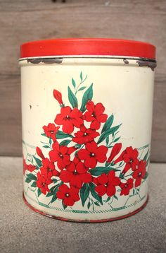 Vintage Kitchen Canister Tin Red Floral by forgottenPLUM on Etsy, $10.00