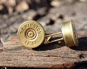 Perfect gift from a bride's dad to his future son-in-law.  A nice reminder that if you hurt her, I'll shoot you.  :)    Remington 12GA Shotgun Shell Cufflinks. $13.50, via Etsy.