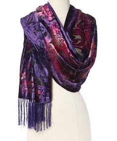 Another great find on #zulily! Black & Purple Floral Silk-Blend Scarf #zulilyfinds