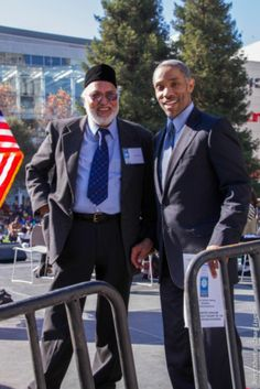 NorcalMLK Foundation executive director Aaron Grizzell (right) and Iftekhar Hai, head of the United Muslims of America, during the MLK2014 Celebration events