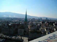 Fraumunster from the towers of Grossmunster in Zurich