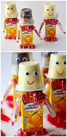 Robot Valentine Snacks for Kids to Make and bring to class parties! (Juice box, smarties, chocolate, and pudding cups) | http://CraftyMorning.com