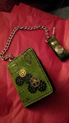 Steampunk design biker wallet by Silverthorn Designs.