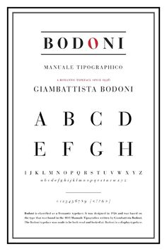 """Bodoni, by Giambattista Bodoni. Description of the typeface is """"romantic,"""" so I like the way the O is red and tilted to look sweet, like a heart."""