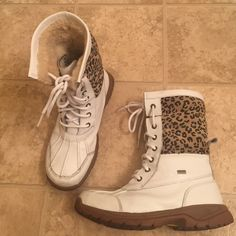 White/ leopard swede UGG boots. White/ leopard swede UGG boots, Pre loved few scurfs  from wear. Size 5 UGG Shoes Lace Up Boots