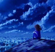 Girl on roof cartoon illustration via www.Facebook.com/GleamOfDreams