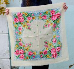 Womens Scarf Wrap, wool floral shawl, Ukrainian, Ladies Fashion