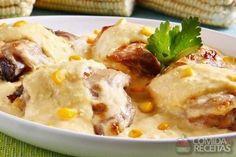 Receita de Sobrecoxa de frango com molho de milho em Aves, veja essa e outras receitas aqui!