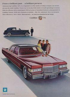 1975 Cadillac Car & 1938 Caddy Town Car Photo Ad by AdVintageCom