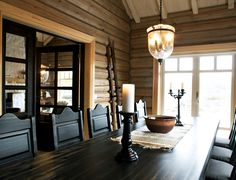 love the table.and chairs.and walls! Getaway Cabins, Winter House, Rustic Charm, Log Homes, Table And Chairs, Future House, Ceiling Lights, Cottage Ideas, Cabin Ideas