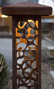 Decorative steel bollard lights contemporary outdoor lighting commercial and residential laser cut steel bollard lights mozeypictures Choice Image