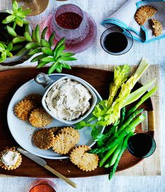 Cheese biscuits and French onion dip is a classic flavour-pairing that stands the test of time. In this updated version we've opted for richly caramelised onion along with fragrant thyme and lemon rind. The cheddar biscuits are excellent served as they are, but come into their own paired with this moreish dip. A bundle of crisp vegetables served on the side adds a burst of fresh flavour.
