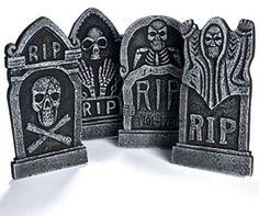 Halloween Decoration Party Decor New Graveyard Foam Tombstone RIP Pack Of Four  #HalloweenDecor