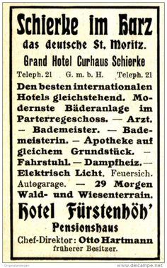 Original-Werbung/ Anzeige 1910 - HOTEL FÜRSTENHÖH' / SCHIERKE IM HARZ - ca. 45 x…