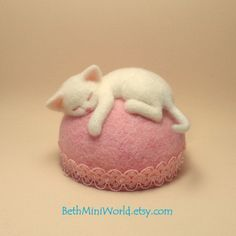 Needle felted Kitten Sculpture- Original Cat Pincushion-Miniature- Home decoration- Nice gift- OOAK- Ready to Ship by BethMiniWorld on Etsy
