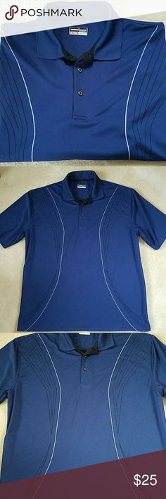 BIG AND TALL GRANDSLAM PERFORMANCE GOLF POLO Tee time or any time. Whether you wear it on the course, in the clubhouse or to the office, this men's Grand Slam polo shirt keeps up with your active lifestyle thanks to its moisture-wicking fabric and performance design.Classic fit features relaxed arm holes, regular body and traditional sleeve openings. NWOT, never worn.  - 100% Polyester resists wrinkling - 3 Button placket - Ribbed collar - Airflow ventilation - Linear stripes have slimming…