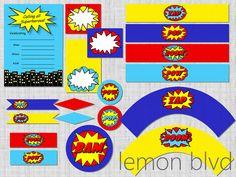 Superhero Party Printable Package - Instant Digital Download - Super Hero Party Pack - lemon blvd