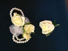 Bracelet white spray rose wristlet and boutonnière by Newtown Floral Company so easy and elegant
