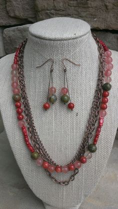 Unakite, Shell & Cherry Quartz  multi-strand necklace with coordinating earrings