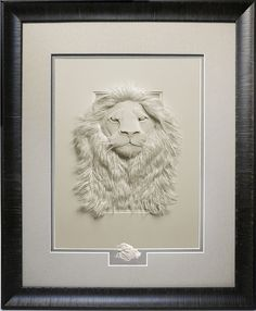 Lion limited edition giclee print image size 9x12 with conservation mats, frame and optional remarque miniature paper sculpture