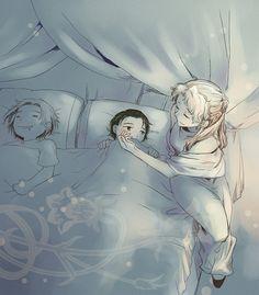 Mamma Frigga, Loki, and Thor