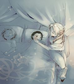 Mama Frigga, with Little Loki and Thor, thievish adorable.