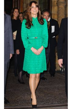 Middleton chooses a green Mulberry dress to open the Treasures Gallery at the Natural History Museum in London.   - ELLE.com
