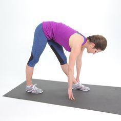 Easy to do anywhere and safe for injured backs, this hamstring stretch is great if you're really tight.  Stand with your feet together. Step your right foot back about two feet and bend forward from your hip joint, keeping your back and both legs straight. After holding for 30 seconds, switch sides.