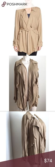 Trouve Drape Front Jacket Cute tan Drape front jacket by Trouve. Jacket has been in storage after used on a tv show and hasn't been used since. Will upload new photos after steaming garment. #9011742 Trouve Jackets & Coats